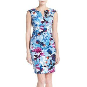Adriana Papell Floral Jacquard Sheath Dress sz 8